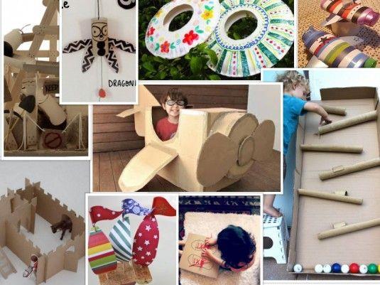 Enlaces a diferentes páginas con ideas para hacer juguetes con cartón y otros materiales reciclados.