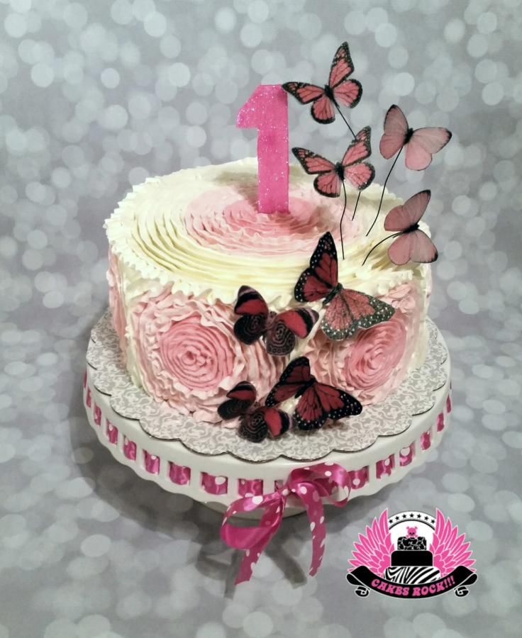 Buttercream Spiral Ruffled Rosettes - Cake by Cakes ROCK!!!  Butterfly, Ruffles