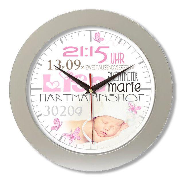 Wanduhren - Geburtsdatenuhr Geburtsuhr Individualisierbar - ein Designerstück von oMama-Shop bei DaWanda