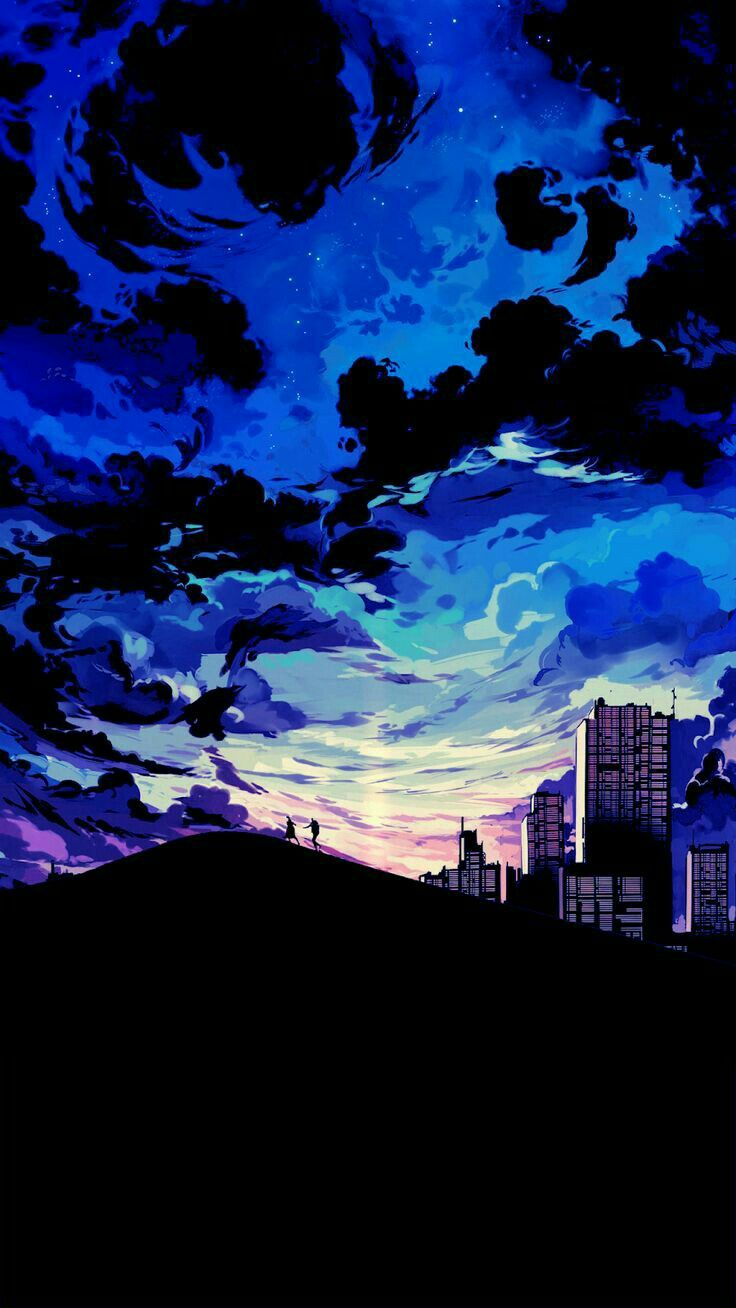 I Like This One Because It Feature Of The City And Mountain It Bring Very Of Variety Of Blue Anime Wallpaper Iphone Scenery Wallpaper Anime Scenery