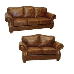 Brandon Distressed Whiskey Italian Leather Sofa And Loveseat Part 47