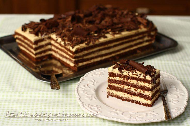 """Prăjitura """"Lulu"""" cu ciocolată și cremă de mascarpone și caramel, rețetă video. Prăjitură cu foi cu cacao și cremă cu mascarpone și caramel, rețetă video."""