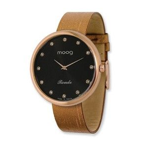 Moog Rose Plated Round Black Dial Watch w/(PM-105RG) Brown Band - SalmaWatches.com $229.95