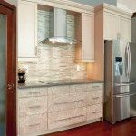 Elegant Kitchen Design Ideas with Charming Backsplash and Fascinating Pattern Cabinet Doors