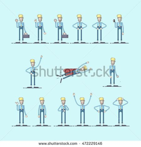 set of businessman character at office work with different pose. Vector…