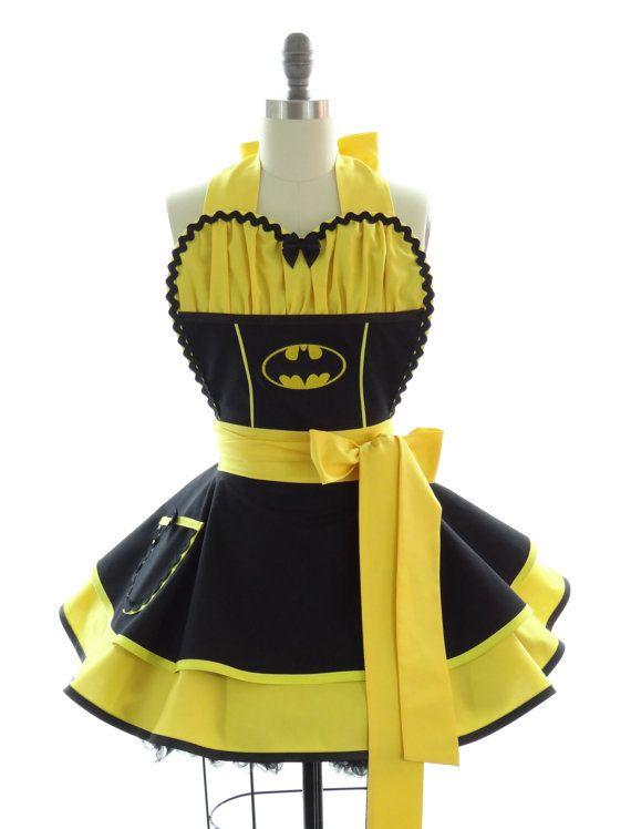 Retro Apron  Batgirl Sexy Womans Aprons  Vintage by bambinoamore, $76.00