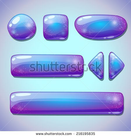 Set of blue glossy buttons, beautiful sparkling elements for web or game design