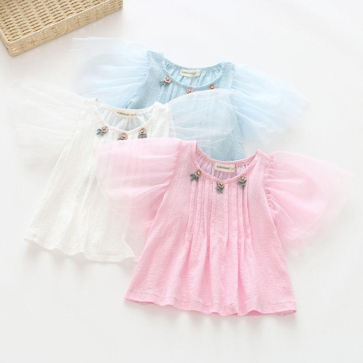 2017 새로운 여자 아기 메쉬 소매 주름 티셔츠 달콤한 꽃 자수 셔츠 패션 착용 옷-에서2017 새로운 여자 아기 메쉬 소매 주름 티셔츠 달콤한 꽃 자수 셔츠 패션 착용 옷부터 티 의 Aliexpress.com | Alibaba 그룹