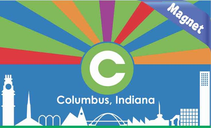 5in x 3in Columbus Indiana Flag Magnet Vinyl Magnetic Decal Magnets