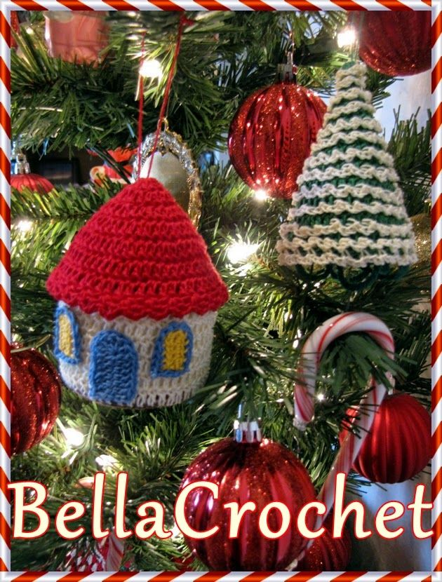 Country Cottage and Tree Ornaments free patterns