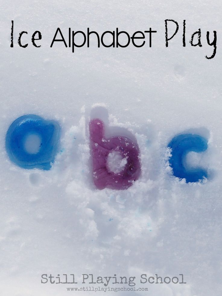 Kids learn letters while playing with an ice alphabet in preschool! This is perfect for winter or summer! I love how they adapted it for different ages!