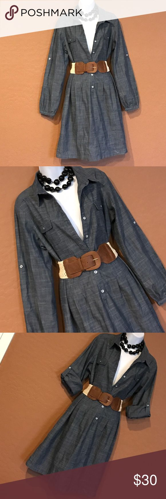 🎉HP🎉 Blue Jean Shirt Dress Never Worn, can worn long or 3/4 fold sleeve (see pic) button down top half, 2 front breast pockets, light weight, Cute! Accessories not included. Emma Michele Dresses