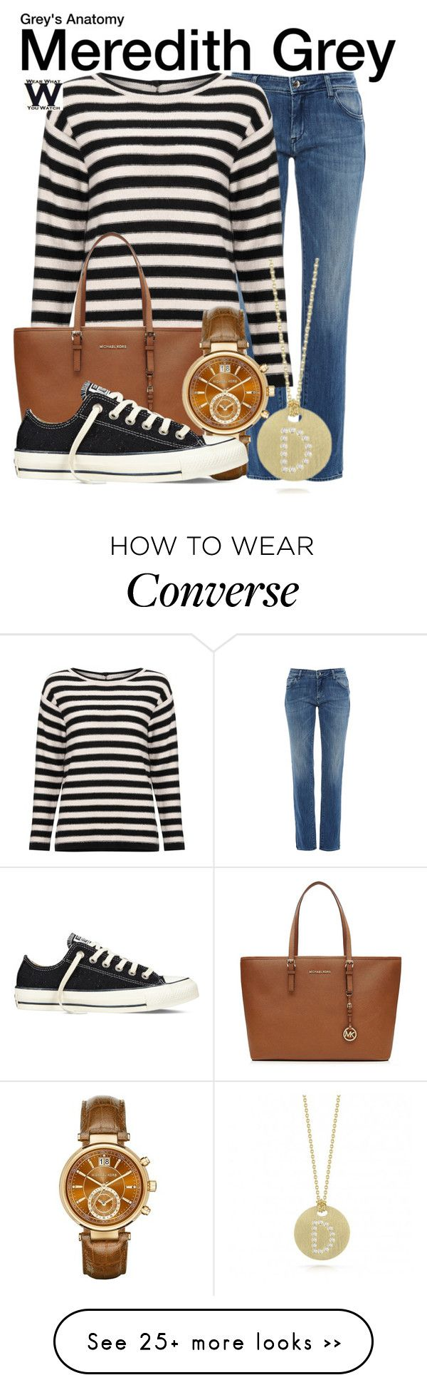 """Grey's Anatomy"" by wearwhatyouwatch on Polyvore featuring The Seafarer, Marella, MICHAEL Michael Kors, Michael Kors, Converse, Roberto Coin, television and wearwhatyouwatch"