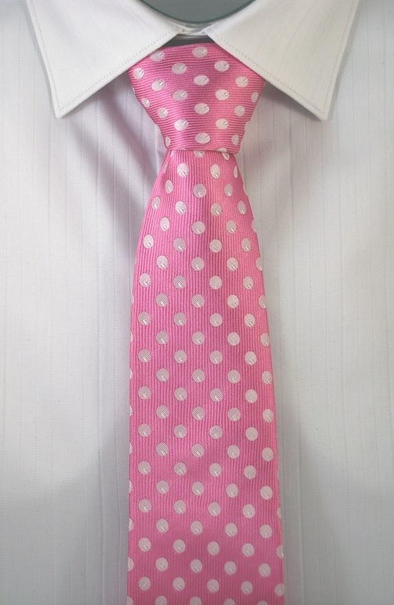 mens pink polka dots tie