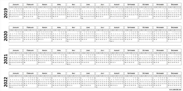 blank template for calendar 2019 2020 2021 2022
