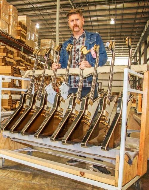 "Bill Kelliher of Mastodon with his signature Gibson USA ""Golden Axe"" Explorers"