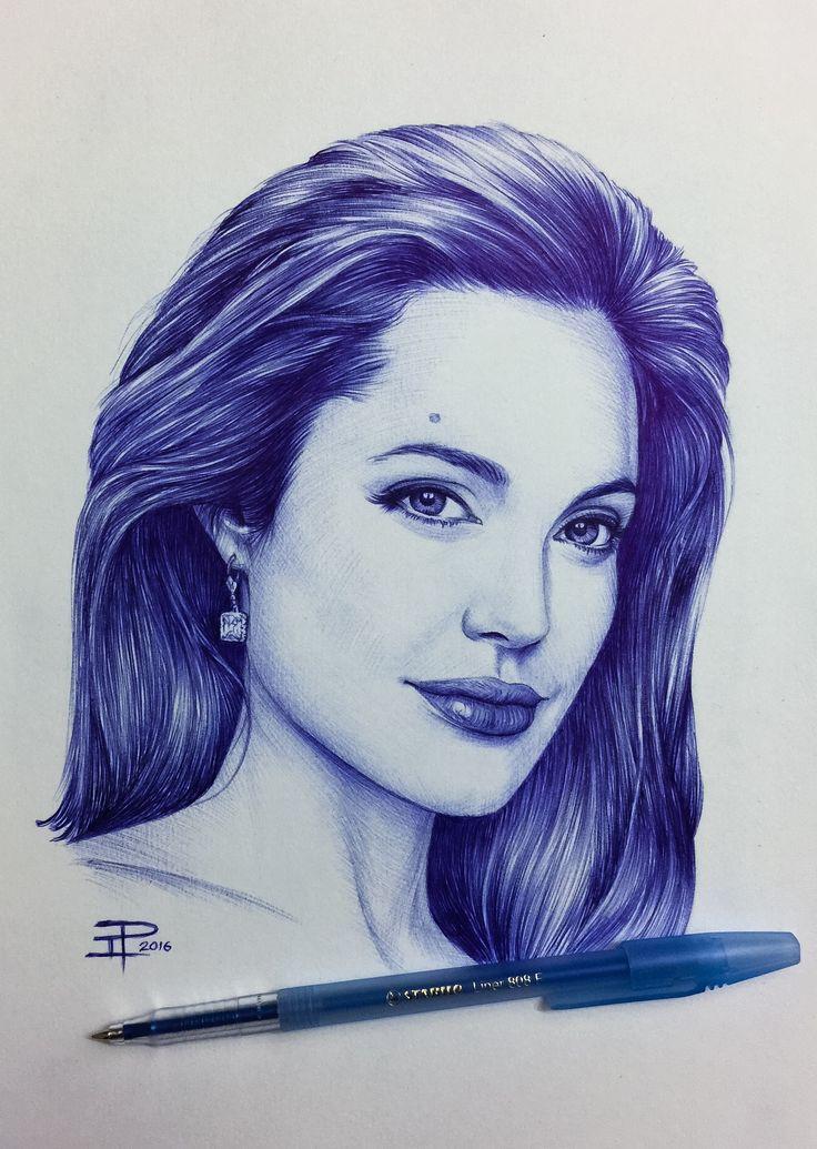 Angelina Jolie - #stabilo ballpoint pen