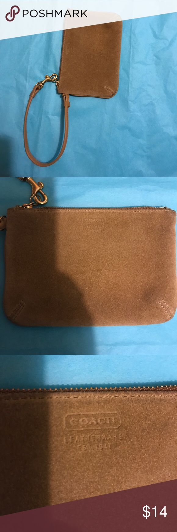 Tan Suede Coach Wristlet Pouch 6x4 tan suede coach wristlet. Good condition. Bit of use shown on edges. Coach Bags Clutches & Wristlets