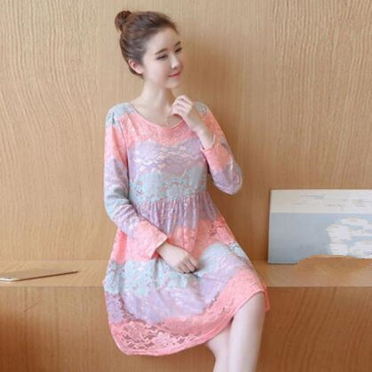 (29.25$)  Watch here  - Autumn Lace Maternity Dress Women Round Collar Maternity Dresses Lady Breathable Long Sleeve Dress for Pregnant Women Clothes