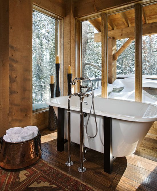 Rustic Log Cabin Bathroom   What A View