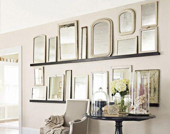 Vintage mirrorsWall Decor, Vintage Mirrors, Mirrors Wall, Decor Ideas, Frames, House, Gallery Wall, Room, Mirrors Mirrors