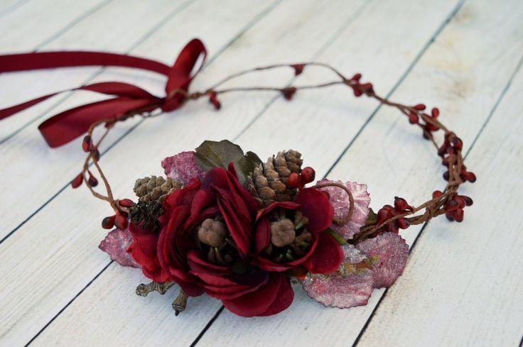 Deep Red Hair Crown Fall Bridal Hair Accessories Rustic Crown Autumn Wedding Burgundy