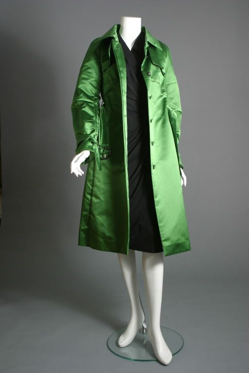 CELINE, Superb emerald green silk satin trench coat, circa 2000