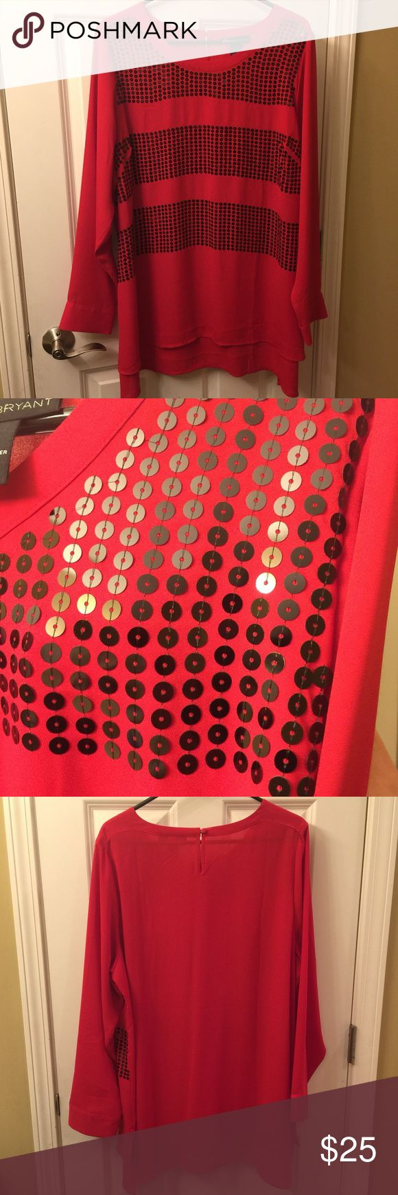 Lane Bryant Christmas Party Ready Red Tunic Top This red tunic top is ready to deck the halls!  The sequins give you a dash of sparkle to help you liven up the party!  It is 100% polyester.  The material has NO stretch to it. Lane Bryant Tops Tunics