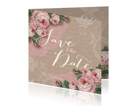 Trouwkaart Save the Date vintage rozen