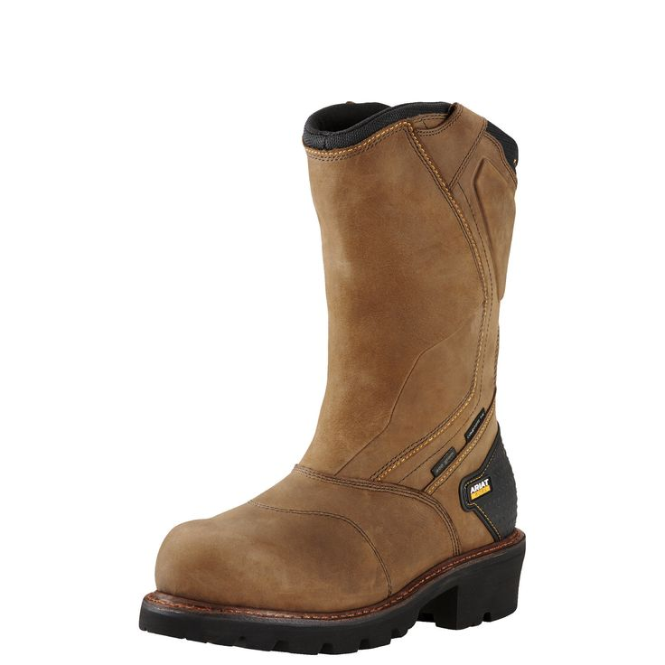 Men's Powerline 400G Waterproof 400g Composite Toe Work Boots in Oily Distressed Brown Leather, size 11.5 D / Medium by Ariat