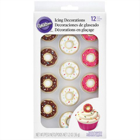 Wilton icing decorations are perfect for topping cupcakes, cookies and ice cream. Certified Kosher. Top treats with Donut Icing Decorations for an even sweeter presentation. Pack includes strawberry,