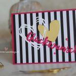 Hochzeitskarte Glückwunsch Melonensorbet Pink schwarz weiß gold