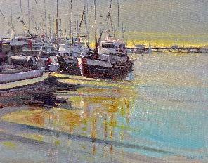 STEVESTON BREAKING LIGHT - oil on canvas, Harrison Galleries
