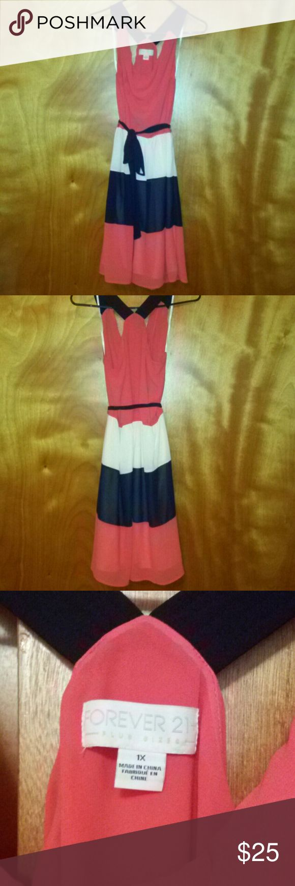Beautiful coral, cream and navy striped dress. Cross back dress with navy straps. Forever 21 Dresses Midi