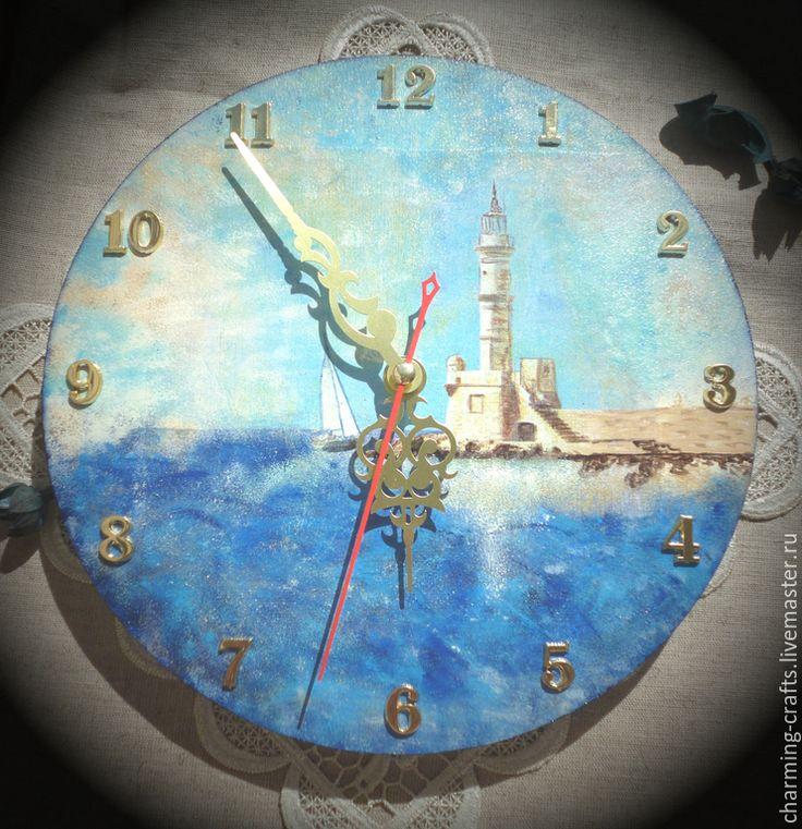 """Купить Часы настенные """"Морские"""" - темно-синий, Декупаж, декор для интерьера, декупаж работы, часы"""