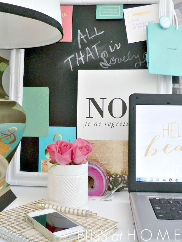 Workspace and desk styling ideas. Sources for accessories.