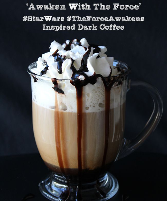 #StarWars #TheForceAwakens Inspired Dark Coffee Ninja Coffee Bar:Select Single Cup Size Add 2 tbsp. of Hershey's Dark Chocolate Syrup to bottom of mug