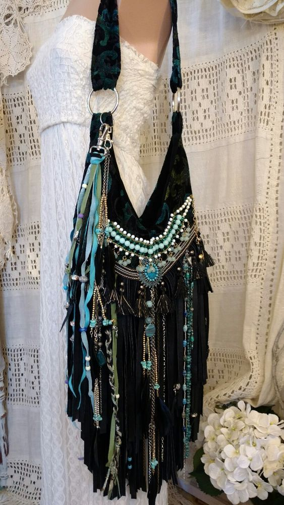 Handmade Fabric & Black Leather Shoulder Bag Hippie Gypsy Purse Fringe tmyers #Handmade #ShoulderBag