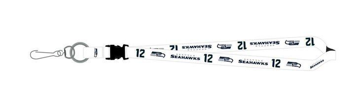 Seattle Seahawks Lanyard - Breakaway with Key Ring - 12th Man White
