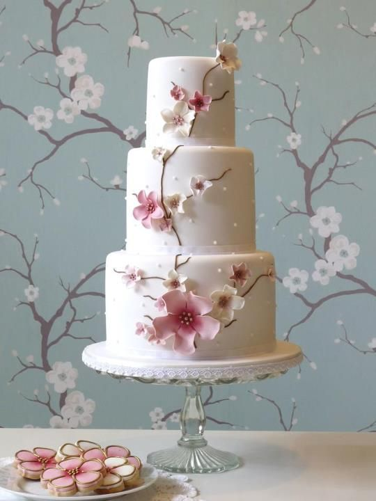 White and pink cherry blossom wedding cake bridal wedding cake Repinned by Moments Photography www.MomentPho.com