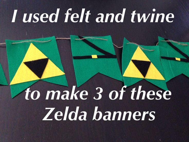 Legend of Zelda party banners. I made my own templates on card stock for this banner.  I traced, cut and glued with tacky glue.  Then I poked holes with a pencil to string the twine.  Cutting all of that felt is a pain but I have 3 really nice banners for the price of a little felt.  Not bad!