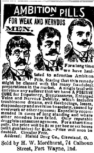 AMBITION PILLS!  Apparently the perkiness of a fellow's moustache was a good indicator of virility - UNBELIEVABLE