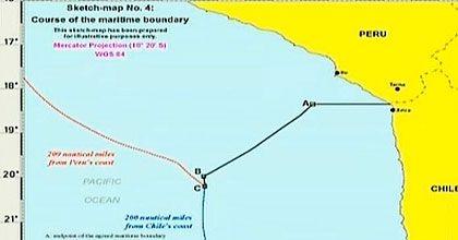 Corte de La Haya define frontera marítima paralela desde el Hito Uno hasta 80 millas de mar y una línea equidistante hasta las 200 millas chilenas. #Chile enero 2014