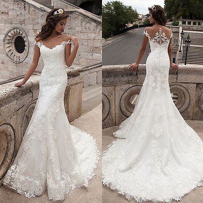 New White Ivory Lace Wedding Dress Mermaid Bridal Gown Custom 4/6/8/10/12/14/16+