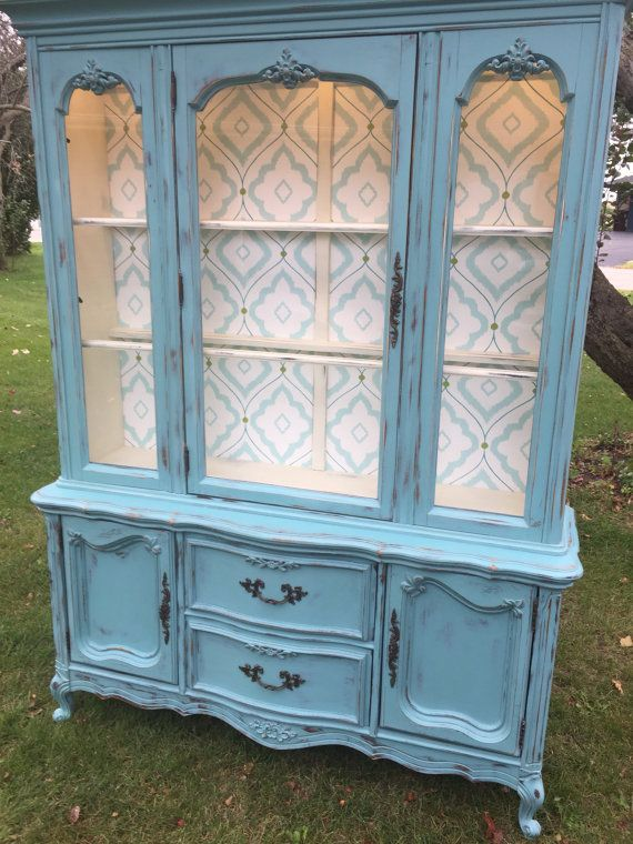 French Provincial China Hutch - ASCP Provence and Old White Custom Mix.                                                                                                                                                                                 More