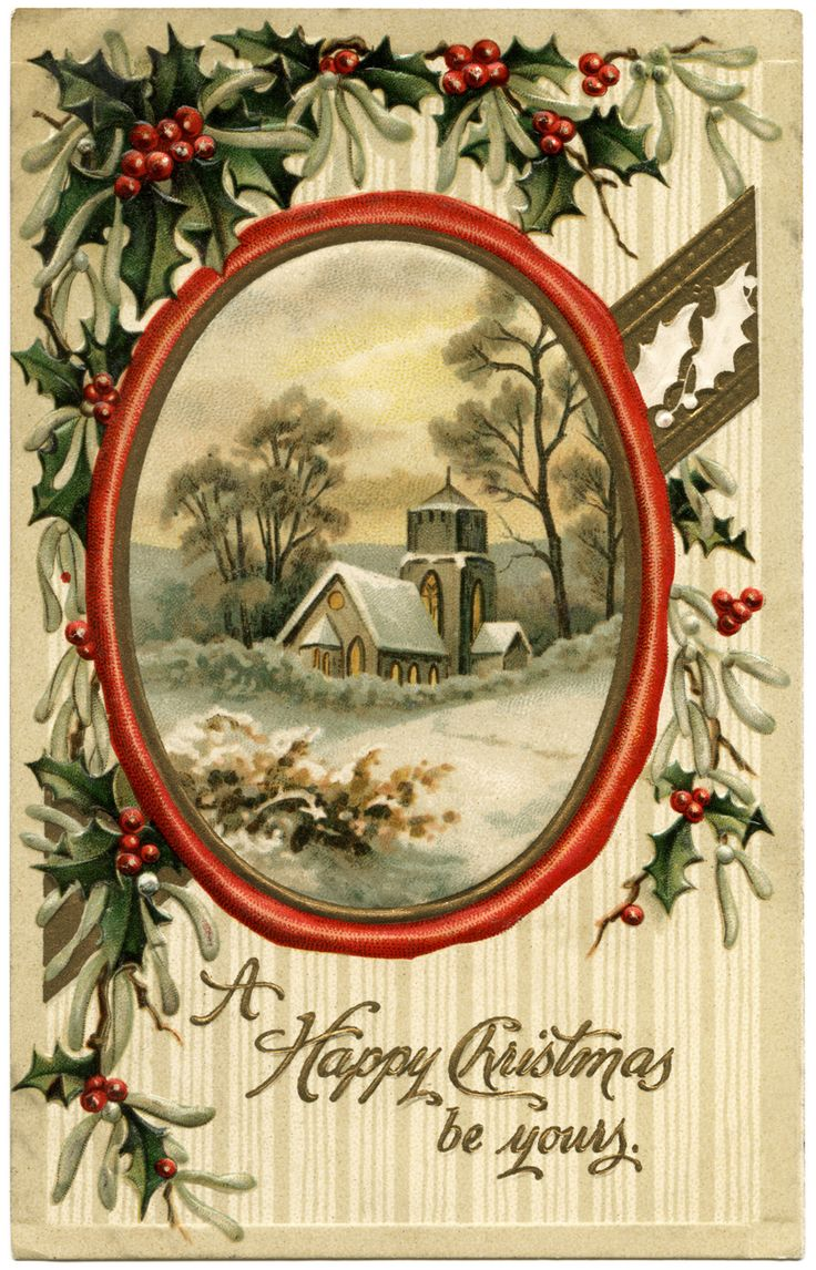 Free printable vintage christmas cards - Vintage Happy Christmas Postcard Victorian Christmas Card Old Fashioned Christmas Image Free Printable Christmas Free Christmas Clipart