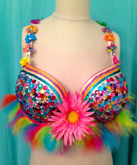 PRIDE! Multicolor Jewel Bedazzled Bra With Feather Fringe Trim and Flowers