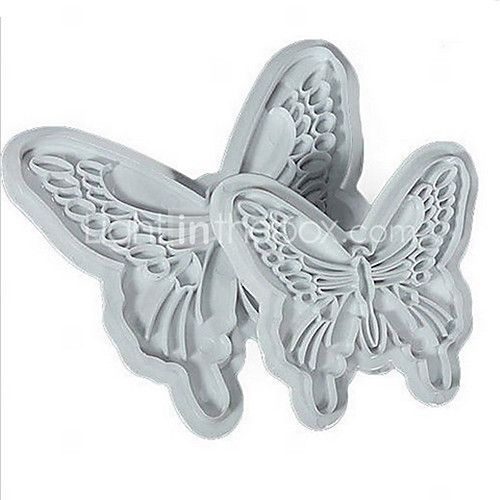 2Pcs/set Butterfly Shape Fondant Cake Decorating Plastic Cutter Embossing Cake Mould Sugarcraft Plunger Decor Press Mold 2017 - $3.99