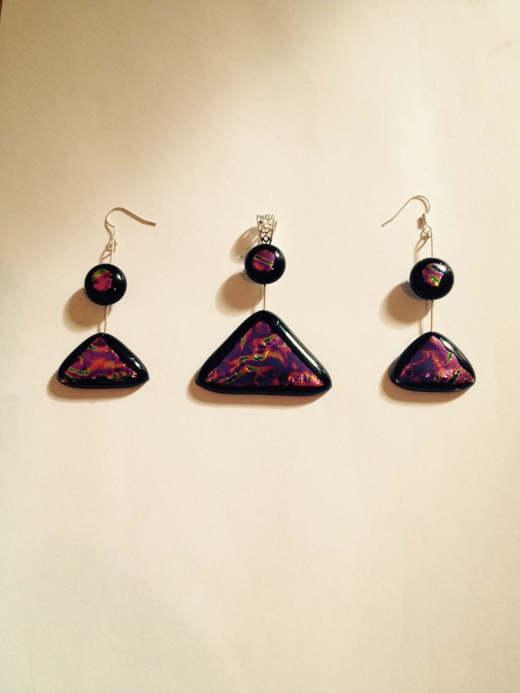 New... three pice dichroic glass jewellery sets. Artwork title: Stargate one. (SG-1) inspired by the movie....