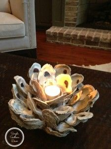 Hand Made Oyster Shell DIY http://www.simplenaturedecorblog.com/oyster-shell-candle-holder/